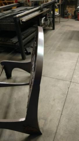 steel bench back radius back