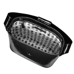 Holly bucket bag black patent mock croco leather