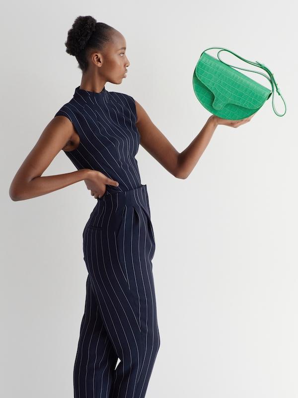 C.Nicol Lily half moon bag green leather
