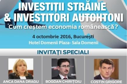 """Conferinta Capital """"Investitii straine & Investitori autohtoni- cum crestem economia romaneasca?"""""""