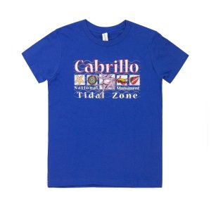 Royal Blue t-shirt with Cabrillo Tidal Zone and drawings of tidepool animals on front.