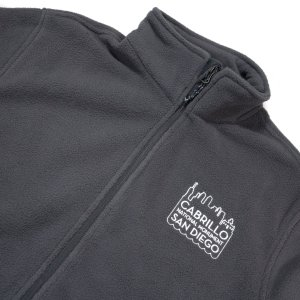 Gray fleece zippered sweatshirt with Cabrillo National Monument San Diego embroidered in white on front.