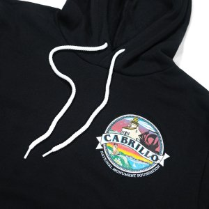 Black hooded sweatshirt and white drawstring with CNMF logo on front.