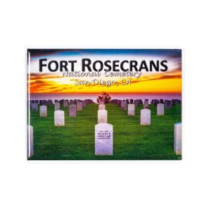 Rectangle magnet with illustration of gravestones at Fort Rosecrans National Cemetery with sunset in the background.