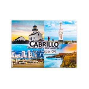 Rectangle magnet with four illustrations of Cabrillo, the lighthouse in upper left, the Statue in Upper right, the tidepools in lower right and San Diego skyline in Lower left.