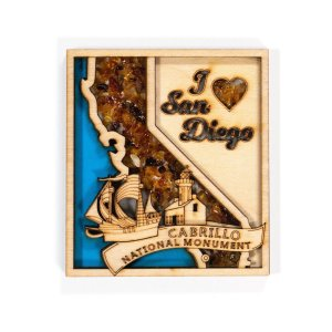 Magnet made from wood with amber inlay in outline of State of California and the heart.