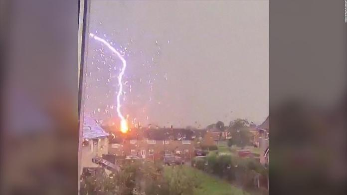 This is the moment when lightning strikes the UK