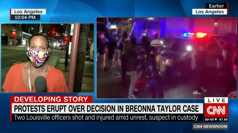 Protests over the ruling of the Breonna Taylor case sweep across the US.