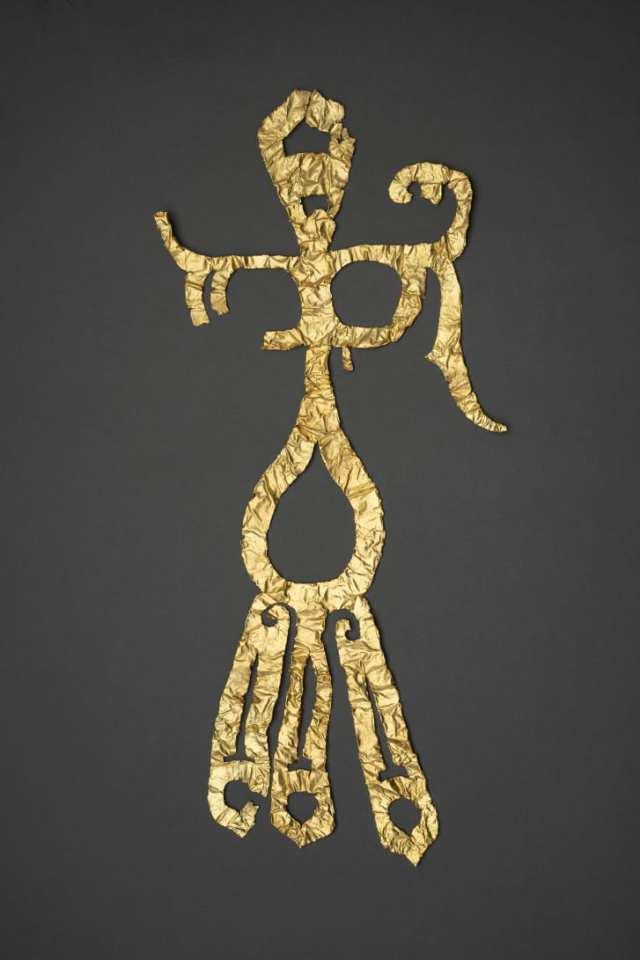 Una decoración de oro fue uno de los más de 500 artículos desenterrados recientemente del sitio. (Crédito: Folleto / Xinhua / Sipa USA)