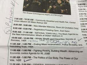 An attendee used the daily schedule page to keep track of the sessions he attended.