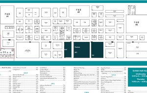 Use your show daily's centerspread to publish a full size exhibit hall floor plan and company director.