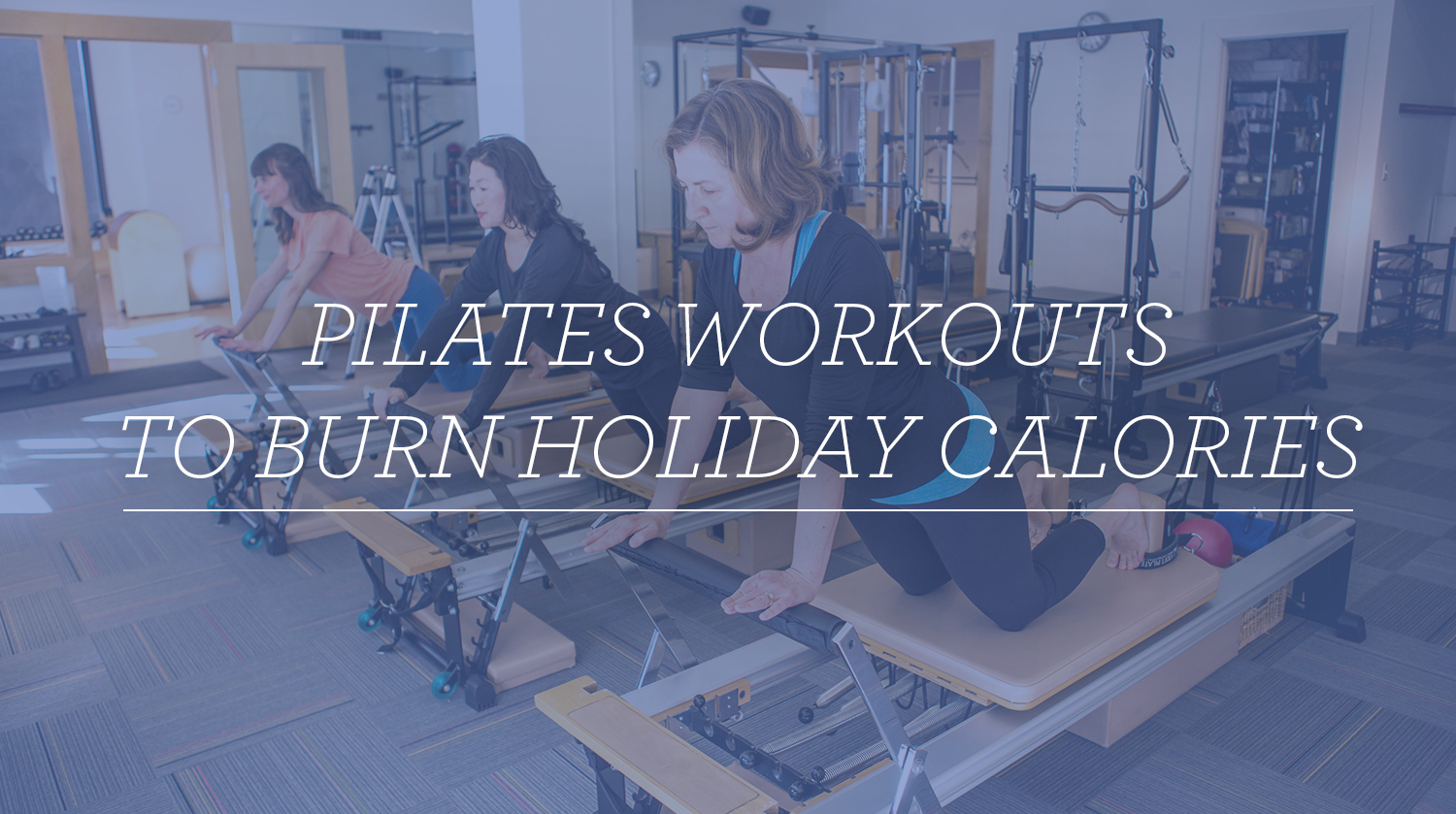 Picture of Pilates class overlaid by words how many calories does pilates burn