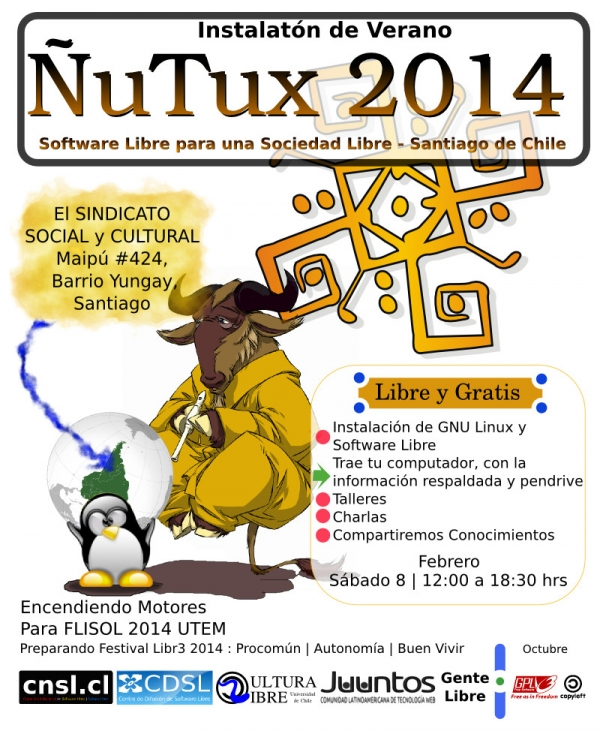 ÑuTux 2014 -preparando FLISOL Santiago-