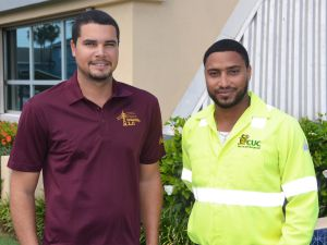(L-R) CUC's Joshua Ebanks and Aaron Perera are in TCI assisting with restoring electricity