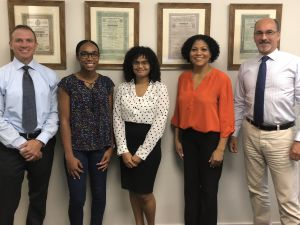 (L-R) Richard Hastings of PCM, Janell Dyer (previous intern), Diandra McCoy (new intern); Dianne Conolly (NWDA) and Oliver Sinton (PCM).