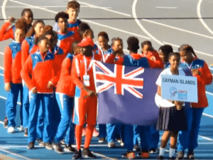 Cayman Islands CARIFTA team at the opening ceremony
