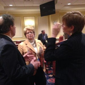 Maryland Delegate Kathleen Dumais, D-Montgomery (center), talks to the Commission on Child Custody Decision-Making Chair Cynthia Callahan (right), and state Senator Jamie Raskin, D-Montgomery (left), after the Commission made recommendations to the Senate's Judicial Proceedings Committee about the process for child custody cases on Thursday, January 29, 2015. (Capital News Service photo by Grace Toohey).