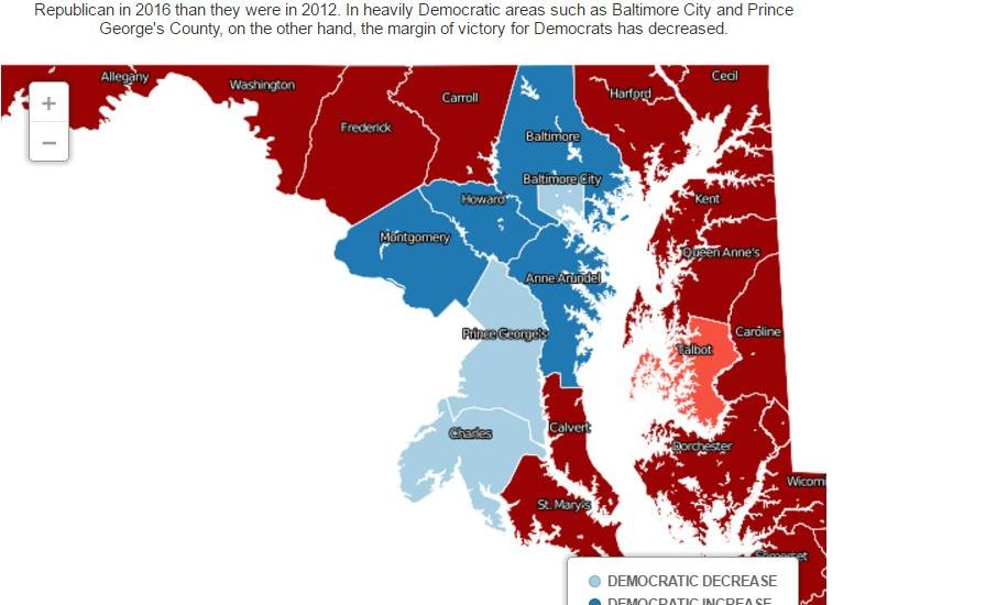 Maryland counties became more polarized in the 2016 presidential election