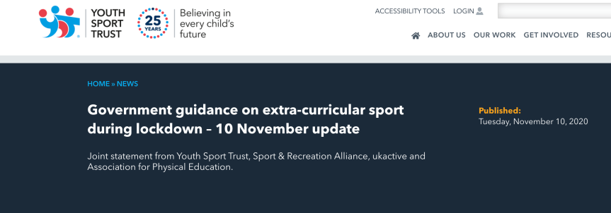 Updated YST Guidance on Extra Curricular Clubs- 10/11/20