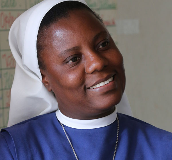 Sister Augusta Ernest is principal of the primary segment of St. Martin de Porres School in Hinche, Haiti. (CNS/Bob Roller)