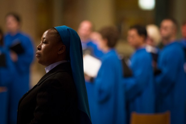 A woman religious stands near the choir Feb. 8 at a Mass on the International Day of Prayer and Awareness Against Human Trafficking at the Basilica of the National Shrine of the Immaculate Conception in Washington. (CNS/Tyler Orsburn)