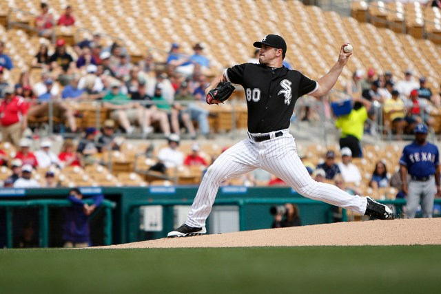 Chicago White Sox pitcher Carlos Rodon throws against the Texas Rangers during a spring training game. (CNS/Nancy Wiechec)
