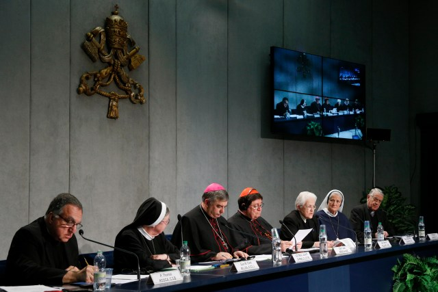 Vatican officials and women religious address the media at a Vatican news conference last December. (CNS/Paul Haring)