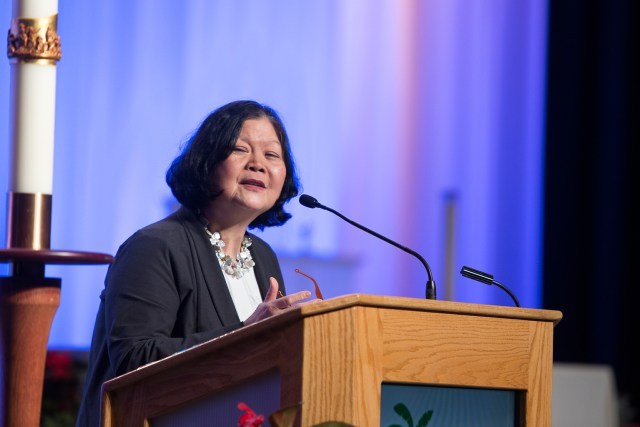 Carolyn Y. Woo, president and CEO of Catholic Relief Services, speaks about Catholic education to some 5,000 Catholic educators April 7 in Orlando, Fla. (CNS/Tom Tracy)