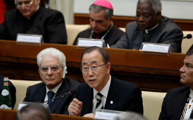 U.N. Secretary-General Ban Ki-moon addresses an April 28 Vatican summit on the moral dimensions of climate change and its impact on the poor. (CNS/Paul Haring)