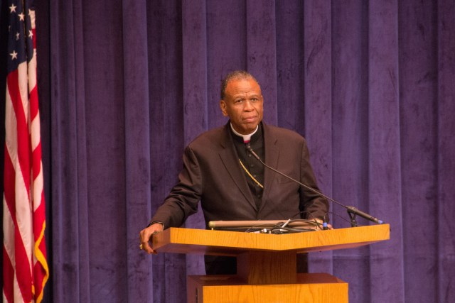 Bishop Edward K. Braxton of Belleville, Illinois, discusses race relations in an address at Georgetown University in Washington April 20. Bishop Braxton asked the American public to broaden their thinking about race and to try to better understand the everyday issues faced by nonwhites. (CNS/courtesy Georgetown University)