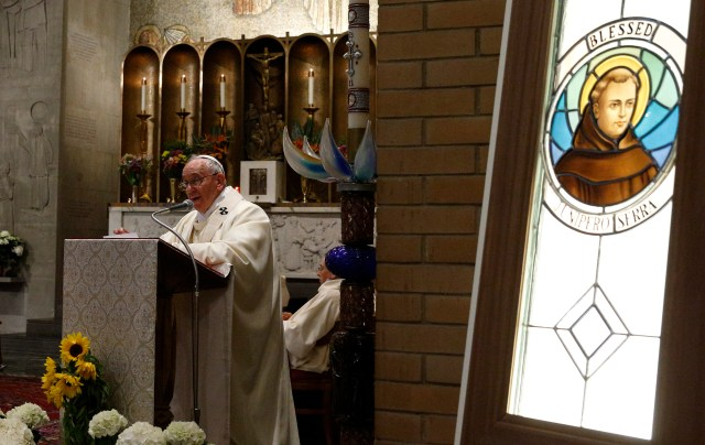 Pope Francis preaches during Mass May 2 at the Pontifical North American College after a symposium on the life of Blessed Junipero Serra. (CNS/Paul Haring)