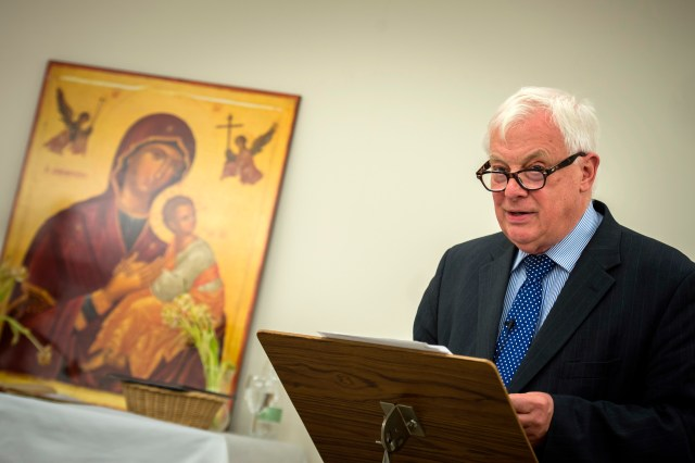 Lord (Chris) Patten of Barnes, former chairman of the British Broadcasting Corp. Trust, speaks to Catholic media professionals at the parish center at St. Patrick's Church in London May 27. (CNS/Marcin Mazur)