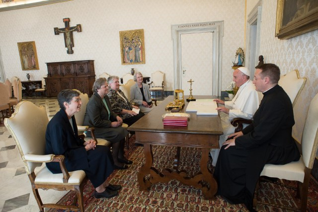 Pope Francis meets with representatives of the U.S. Leadership Conference of Women Religious in his library in the Apostolic Palace at the Vatican April 16. The same day the Vatican announced the conclusion of a seven-year process of investigation and dialogue with the group to ensure fidelity to church teachings. The outcome resulted in revised statues approved by the Vatican. (CNS photo/L'Osservatore Romano)