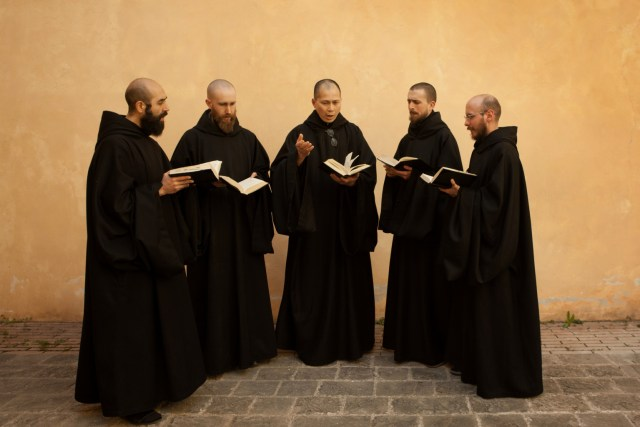 Benedictine monks perform chants at the Monastery of St. Benedict of Norcia, Italy. (CNS/courtesy Universal Music)