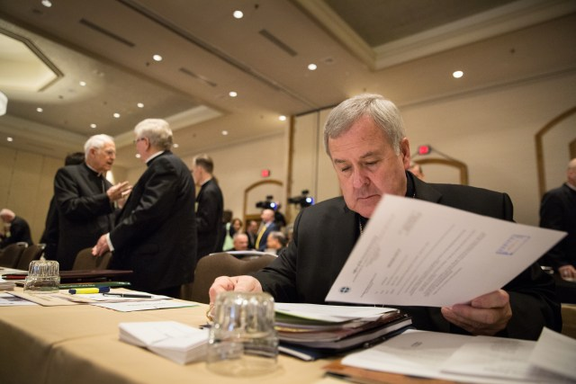 St. Louis Archbishop Robert J. Carlson reads documents June 10 during the annual spring general assembly of the U.S. Conference of Catholic Bishops in St. Louis. (CNS/Lisa Johnston, St. Louis Review)