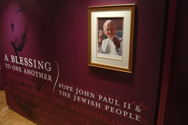 "The opening panel of the exhibit, ""A Blessing to One Another: Pope John Paul II and the Jewish People,"" is seen  in the Vatican's Braccio di Carlo Magno hall. The exhibit runs July 29-Sept. 16. (CNS/courtesy of Blessing Exhibit)"