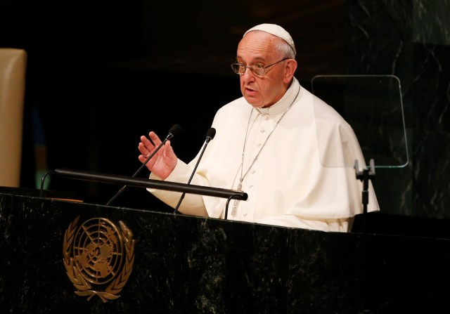 Pope Francis addresses the general assembly of the United Nations in 2015. (CNS/Paul Haring)