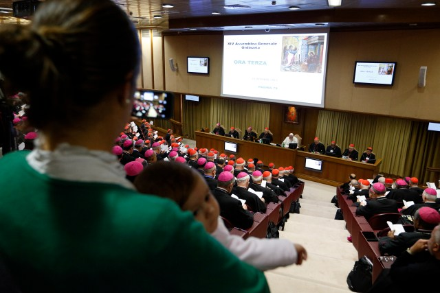 A mother holds her child as she observes a session of the Synod of Bishops on the family at the Vatican Oct. 24. (CNS/Paul Haring)