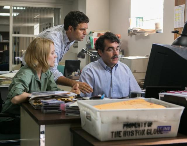 "Rachel McAdams, Mark Ruffalo and Brian d'Arcy James star in a scene from the movie ""Spotlight."" (CNS/Open Road Films)"