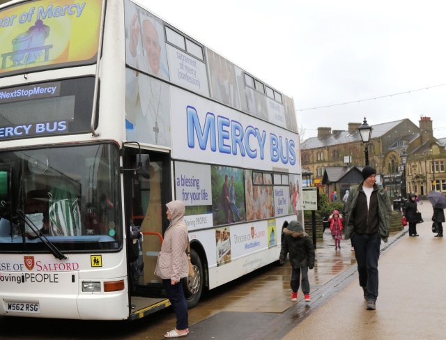 The double-decker Mercy Bus is used for priests to hear the confessions of people who have stopped going to church. (CNS/Simon Caldwell)