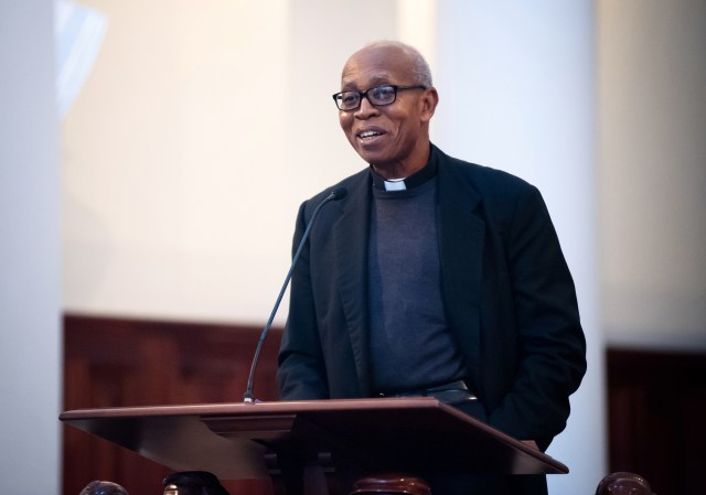 """Archbishop Anthony Obinna of Owerri, Nigeria, speaks March 4 on the theology and practice of reconciliation during the """"Black & White in America: How Deep the Divide?"""" conference at Samford University in Birmingham, Ala. (CNS/Mary D. Dillard, One Voice)"""