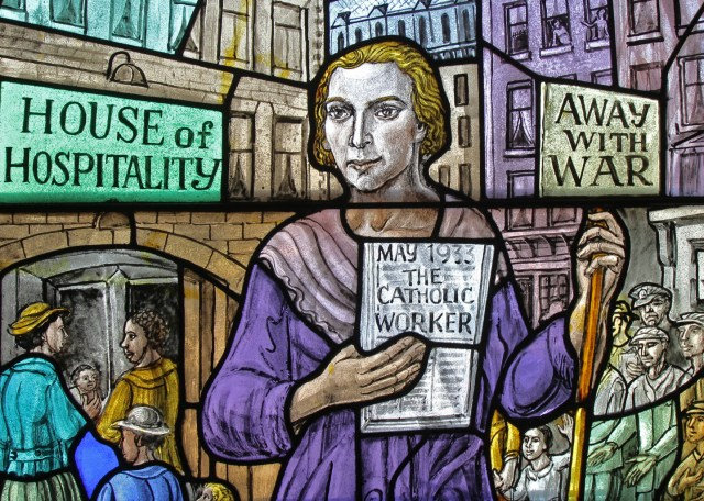 Dorothy Day, co-founder of the Catholic Worker Movement and its newspaper, The Catholic Worker, is depicted in a stained-glass window at Our Lady of Lourdes Church in the Staten Island borough of New York. (CNS/Gregory A. Shemitz)