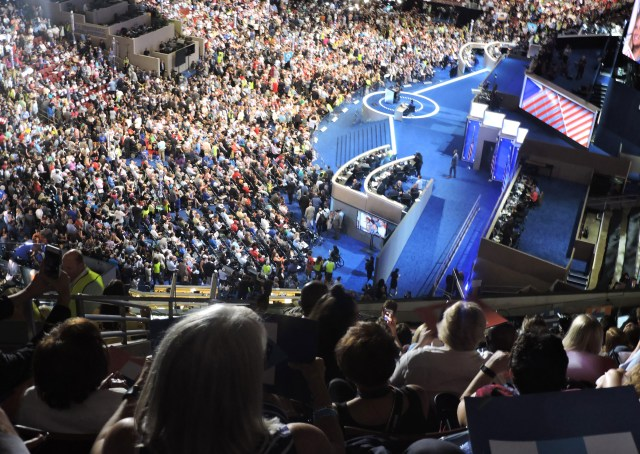 A scene from the Democratic National Convention in late July in Philadelphia. (CNS/Elizabeth Evans)