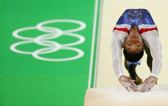 U.S. gymnast Simone Biles competes in the women's individual all-around final during the Olympics in Rio de Janeiro Aug. 11. (CNS photo/Kai Pfaffenbach, Reuters)