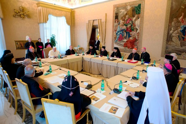 Pope Francis attends a meeting with the patriarchs and major archbishops of the Eastern Catholic churches in Syria, Iraq and and other parts of the Middle East in 2013. (CNS/L'Osservatore Romano)