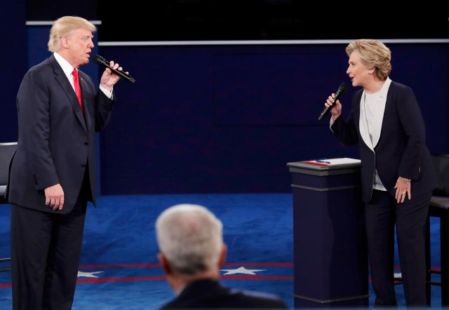 Republican U.S. presidential nominee Donald Trump and Democratic presidential nominee Hillary Clinton speak during their Oct. 9 presidential town hall debate. (CNS/Reuters)