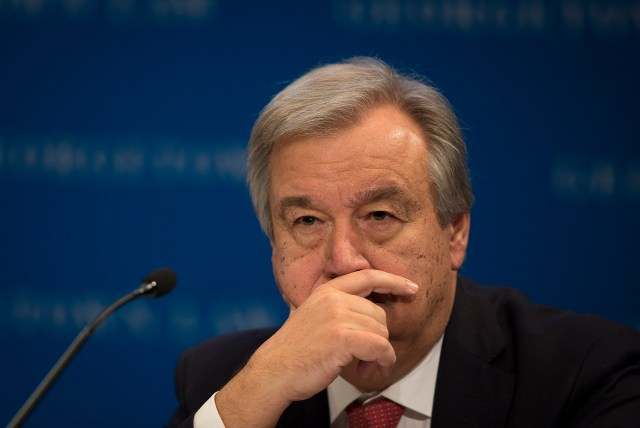 Antonio Guterres, U.N. high commissioner for refugees, fields questions about migration policy during the 12th Annual Immigration Law and Policy Conference at Georgetown University Law Center in Washington Oct. 29. (CNS photo/Tyler Orsburn)