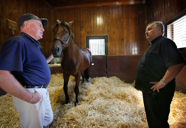 Stallion Manager Richard Barry shows American Pharoah to Chicago Auxiliary Bishop John R. Manz Sept. 21 at Ashford Stud Horse Farm in Lexington. Bishop Manz was on a pastoral visit to migrant workers in Kentucky on behalf of the U.S. Conference of Catholic Bishops. (CNS photo/Karen Callaway, Catholic New World)