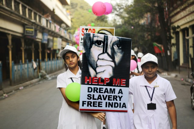 Students from the Archdiocese of Calcutta take part in a walk for peace against human trafficking last year in Kolkatta, India. (CNS/EPA)