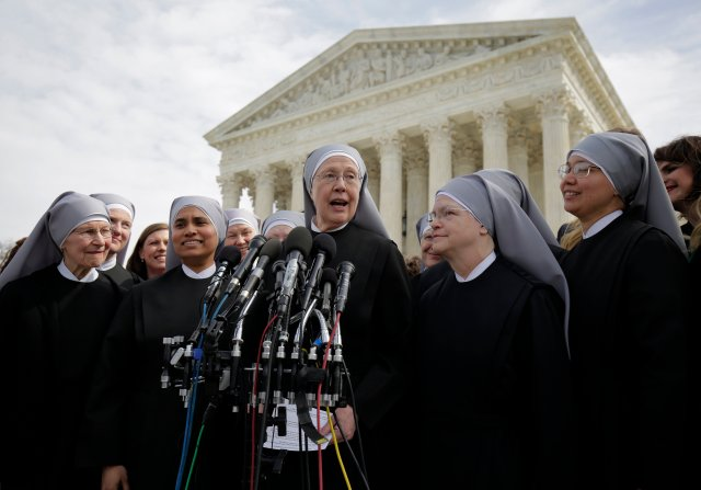 Sister Loraine Marie Maguire, mother provincial of the Denver-based Little Sisters of the Poor, speaks to the media outside the U.S. Supreme Court in Washington March 23 after attending oral arguments in the Zubik v. Burwell contraceptive mandate case. (CNS/Reuters)